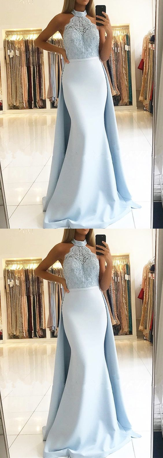 Elegant Blue Lace Halter Mermaid Prom Dress,Sexy Party Dress,Formal