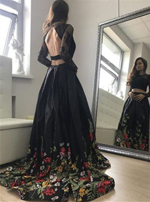 Two Piece Black Backless Cheap Prom Dress,Sexy Party Dress,Formal Dress,8102639