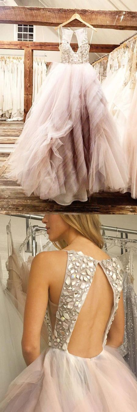 Pink Beading Tulle Wedding Dress,Formal Dress,Cheap Bridal Dress,8102640