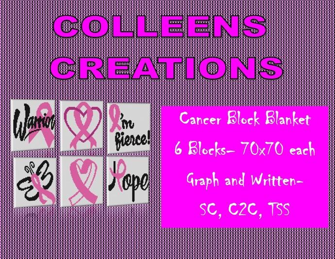 Cancer Block Blanket Crochet Design-6 Blocks total