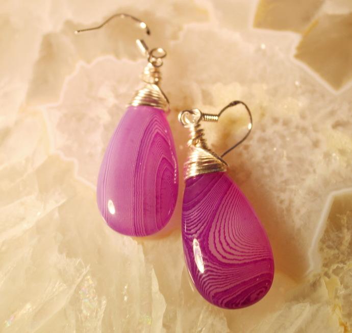 Purple Agate Teardrop Earrings Argentium silver 2 inches
