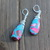 Blue sea sediment Jasper wire wrapped teardrop Earrings Argentium silver 2 1/4