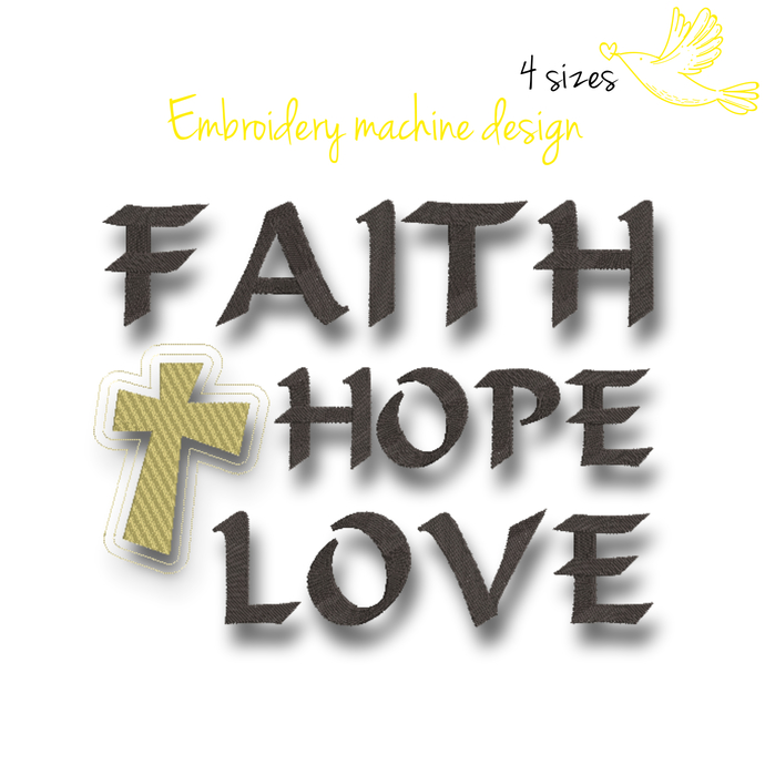 Faith Hope Love Machine Embroidery Design instant download digital pes file