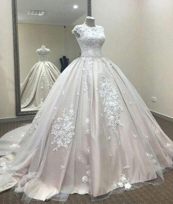 A line lace tulle Ball Gown Wedding Dress With Lace,Formal Dress,Cheap Wedding