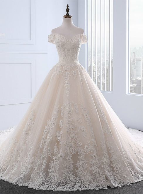 Champagne Ball Gown Tulle Appliques Off The Shoulder Wedding Dress,Formal