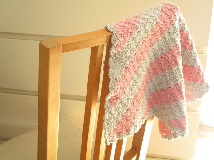 Crochet Doll Blanket,Crochet Doll Afghan,Handmade Blankets, Pink and Gray