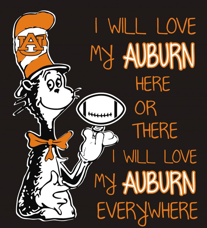 Cat In The Hat Auburn Tigers, I will love my tigers here or there i will lobe my