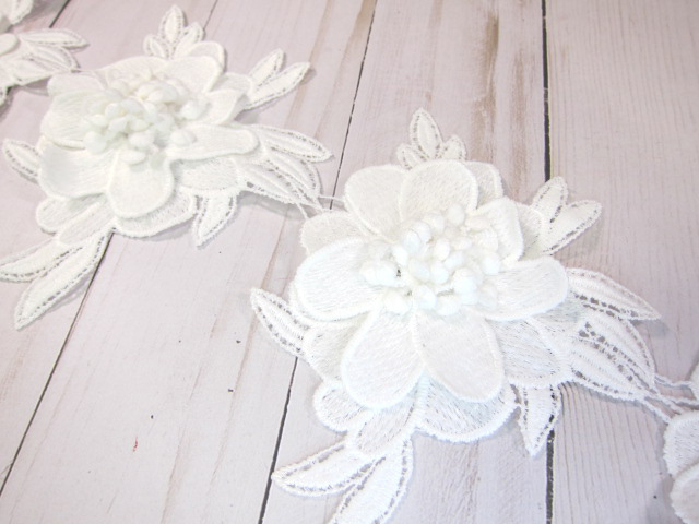 """Layered Embroidered Cotton Flower Applique - 5"""" White"""