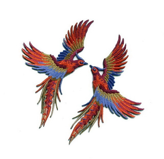 Phoenix birds Blue Gold Patch Embroidered Iron on Patches Clothes Appliques Sew