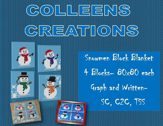 Snowmen Block Blanket Crochet Design with Graph and Written row-by-row