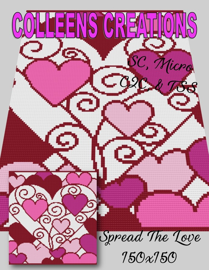 Spread The Love Crochet Design with graph & written row-by-row instructions