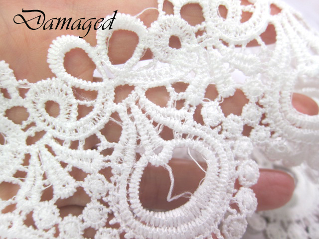 "1yd Embroidered Venice Lace - 3"" White"