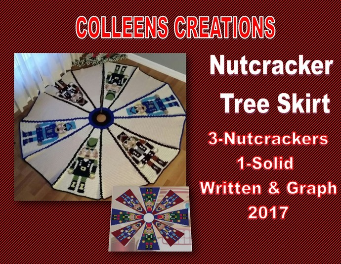Nutcracker Tree Skirt Crochet Design with graph and written row-by-row