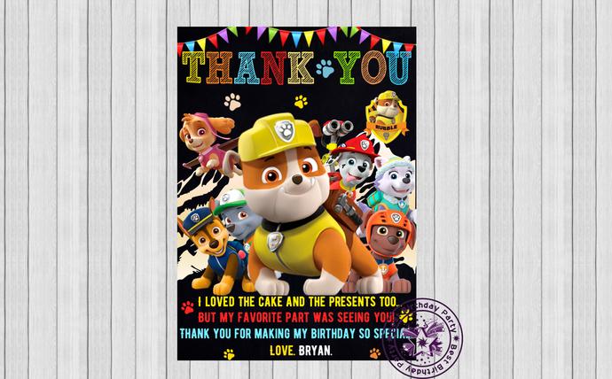 Paw patrol thank you cards, Rubble Paw Patrol birthday Thank You Card, Birthday