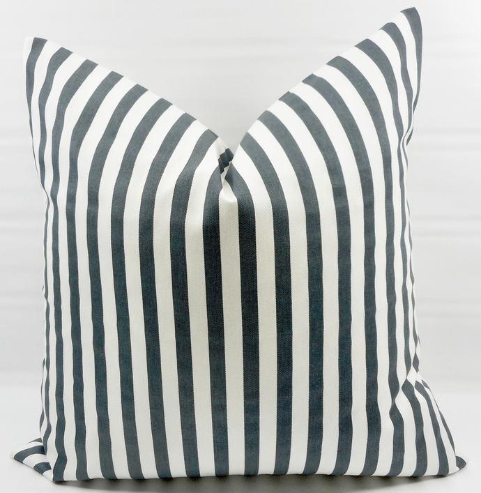 Gunmetal Grey   & White In Basic Stripe  Print  Sofa Pillow cover. Throw pillow