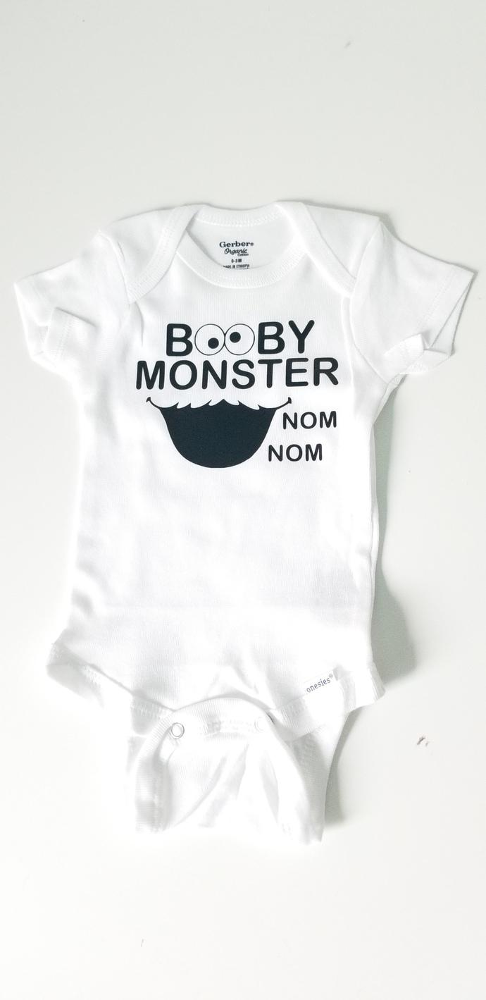 Booby Monster Baby Onesie, Baby Boy Onesies, Baby Girl Onesie