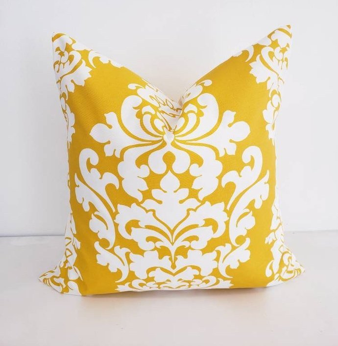 Yellow Berlin  Print. Indoor/ Outdoor Polyester Sofa Pillow cover. Throw pillow