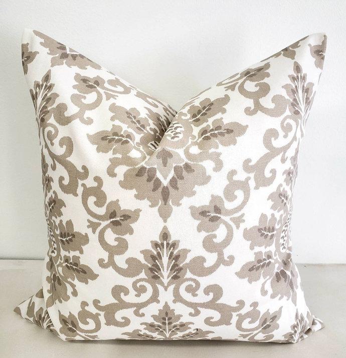 Ecru and white Pillow cover. Cecilia  Print. Sofa Pillow cover. Throw pillow
