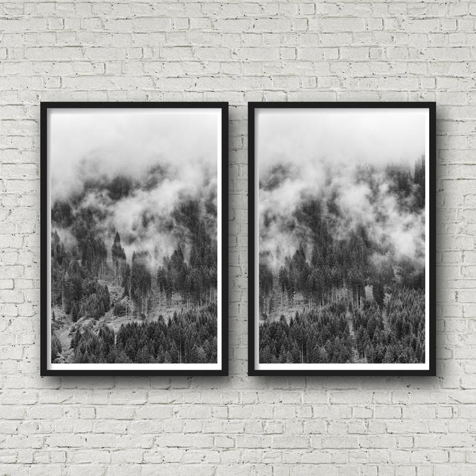 Scandinavian Print, Set of 2 Prints, Forest Poster, Pine Tree Art, Canvas Art,
