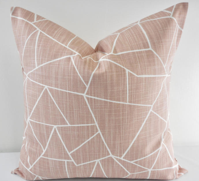 Blush Pink pillow cover. Blush pink and white cut glass Print.  Sofa Pillow
