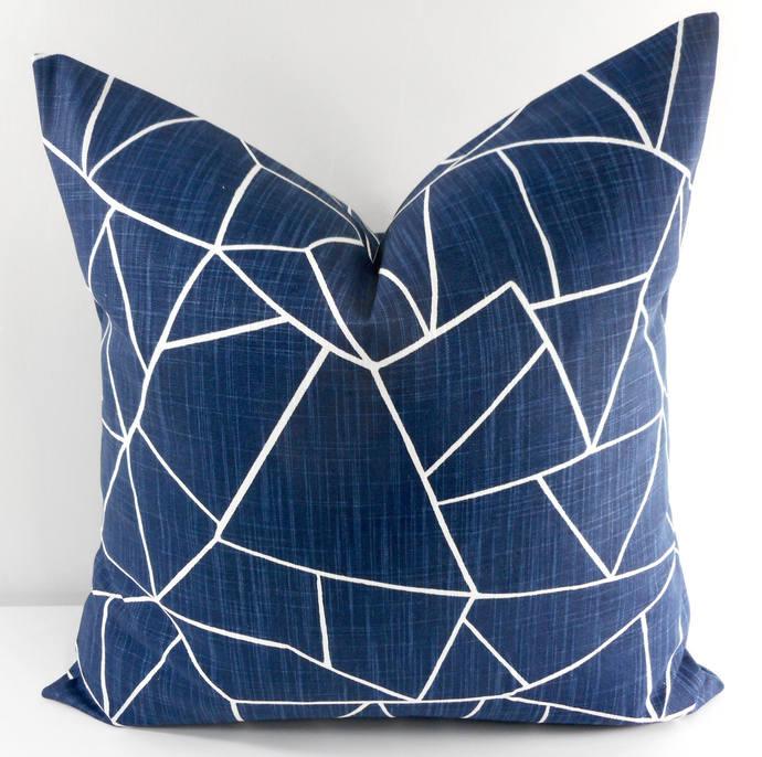 Italian denim  pillow cover. Blue and white cut glass Print.  Sofa Pillow cover.