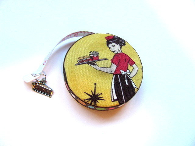 Retractable Tape Measure Retro Diner Print Measuring Tape