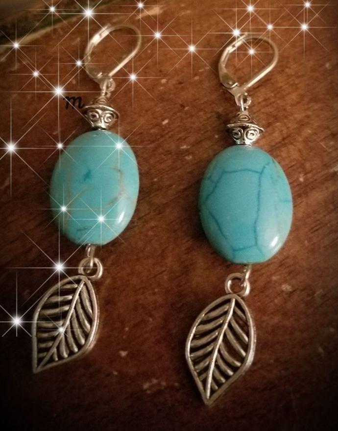 Magnesite Drop Earrings w/Leaf Charm