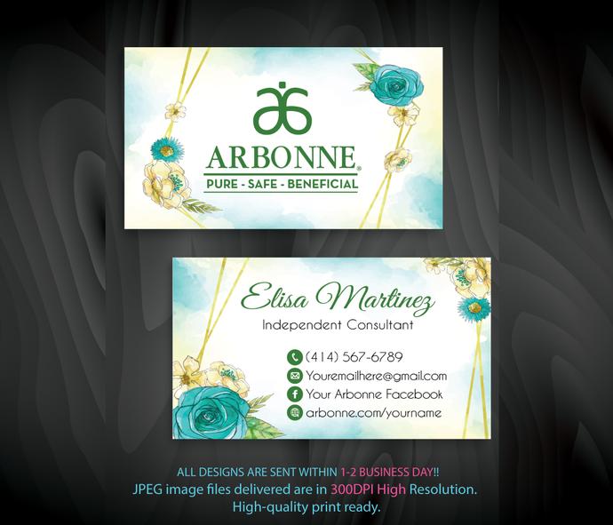 Personalized Arbonne Business Cards, Arbonne Consultant, Arbonne Digital file