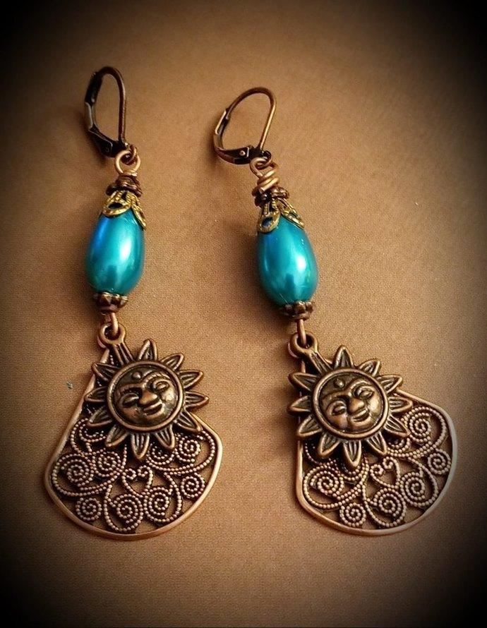 Copper Sun Dangle Earrings