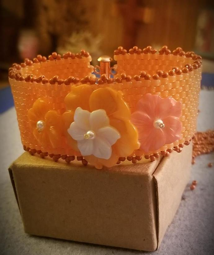 Dreamsicle Beaded Cuff Bracelet with Flowers