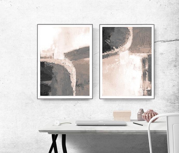 Set of 2 beige Wall Art Prints, Modern Contemporary Abstract Wall Art, Brush