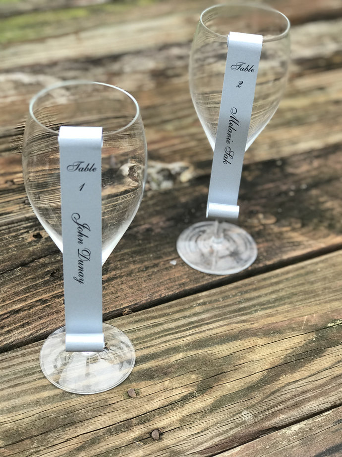 Shimmery Charcoal Silver Champagne Flute or Wine Glass Escort Card Place Card
