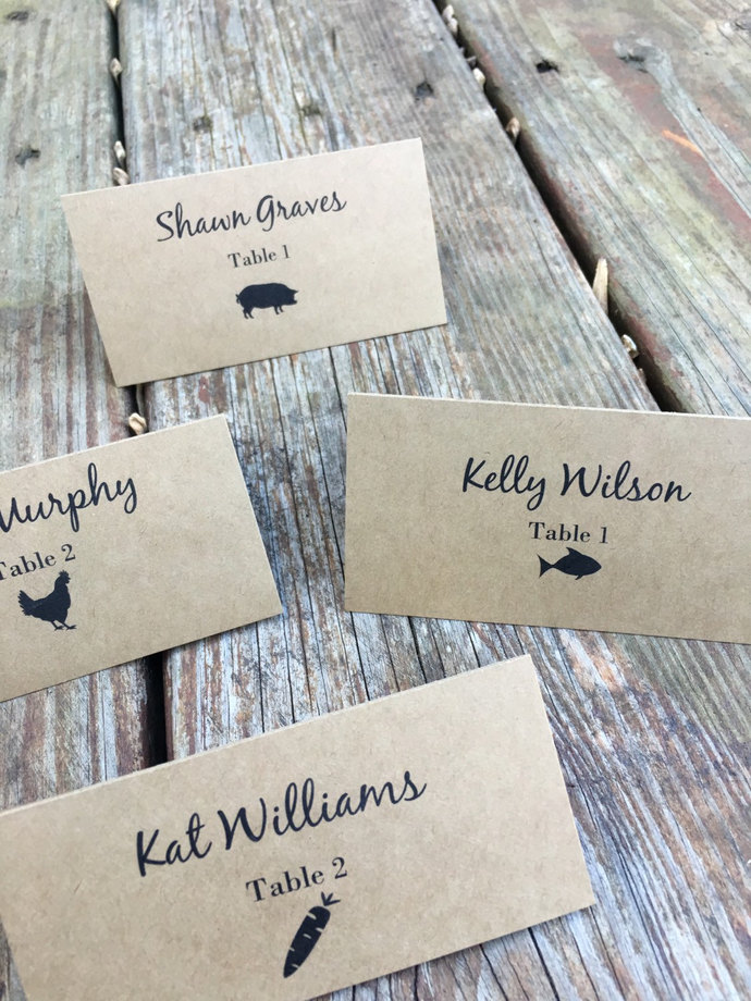 100 Meal Choice Tent Style Escort Card / Place Card -Wedding/ Dinner