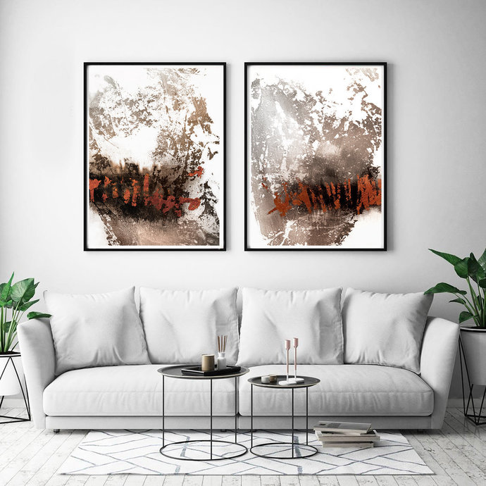 Set of 2 ,Abstract Painting, Printable Wall Art, Abstract Art brown beige