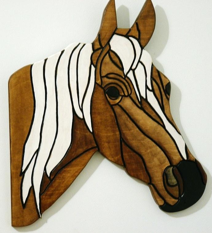Horse, Wood Sculpture, Wall Decor, Equestrian, Western Decor