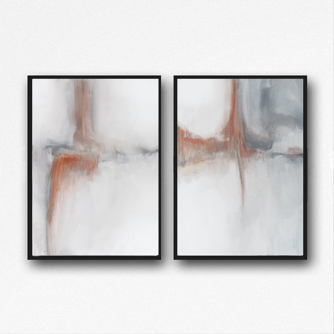 Set of 2,Neutral Home Decor, Minimalist Abstract Landscape Painting, Printable