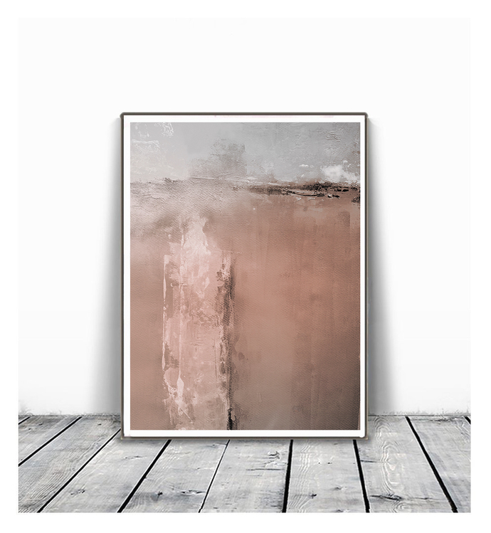 Neutral Wall Art Print, Beige & Brown Abstract Art, Minimalistic Art, Modern