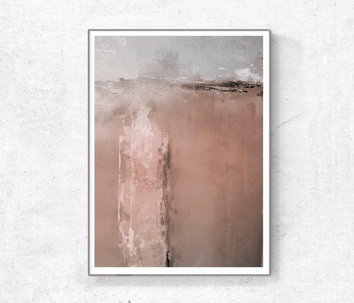Neutral Wall Art Print, Beige & Brown Abstract Art, Minimalistic Art, Modern