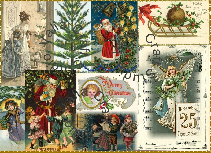 VINTAGE CHRISTMAS COLLAGE SHEET. Oh Christmas Tree.  Digital Printable. instant