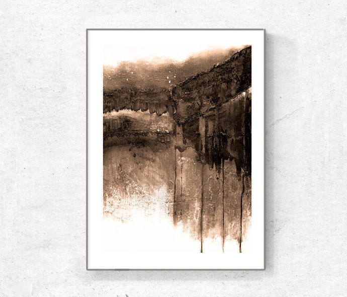 Abstract Painting, Sepia Wall Art, Abstract Art Print, Minimalist Art, brown
