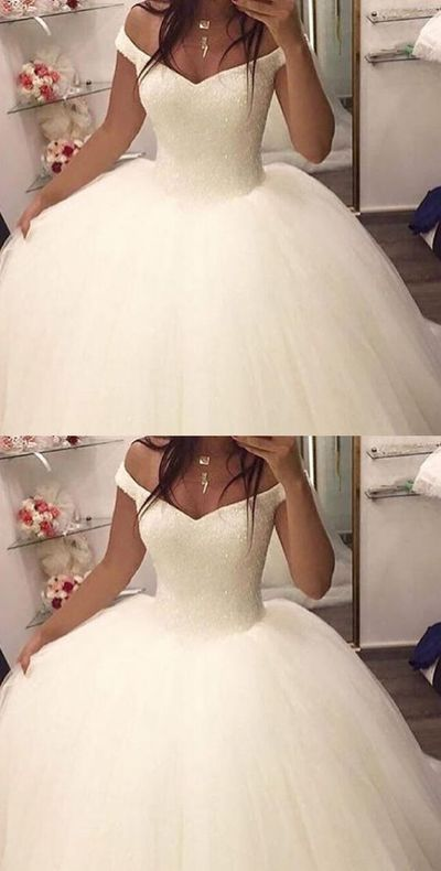 Off Shoulder White Tulle Wedding Dresses, Ball Gown Wedding Dresses
