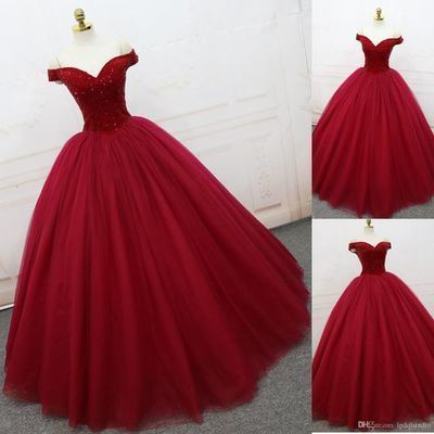 Elegant Tulle Ball Gown Prom Dresses, Off Shoulder Red Quinceanera Dresses