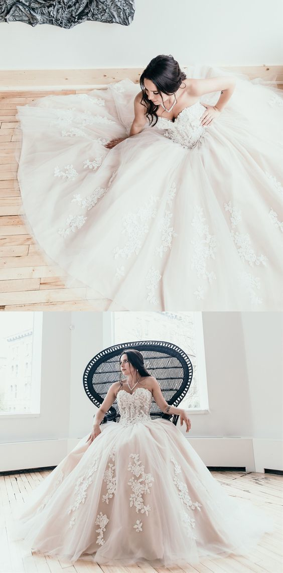 Sexy Tulle Appliques Wedding Dresses, Sweetheart Ball Gown Wedding Gown, 2019