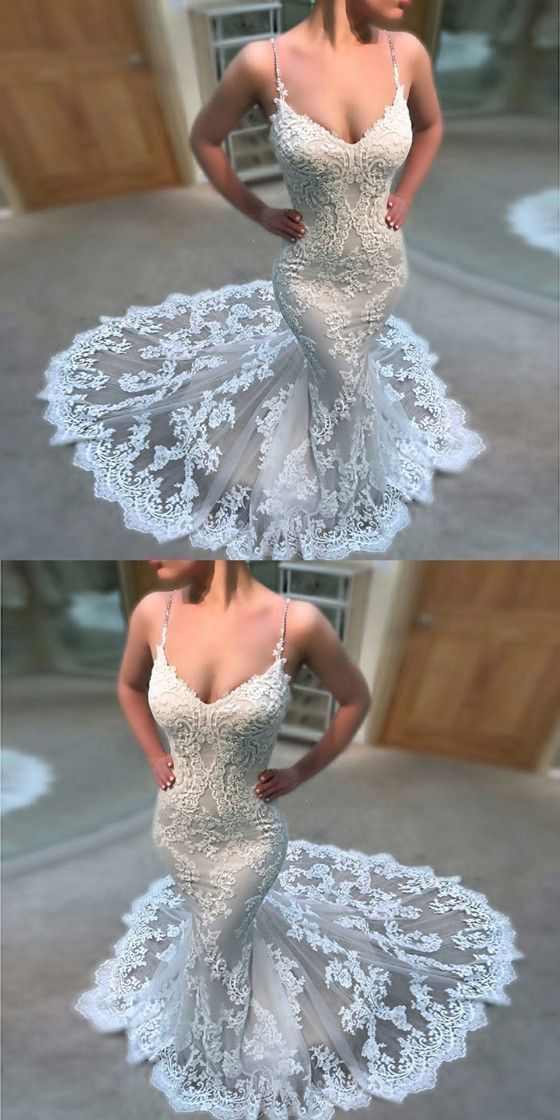Sexy Tulle Appliques Wedding Dresses, Sexy Spaghetti Straps Wedding Gown, 2019