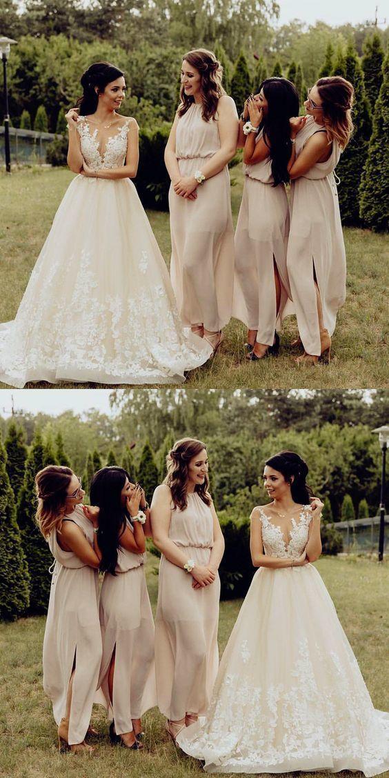 Sexy Split Slit Bridesmaid Dress, Long Bridesmaid Dresses