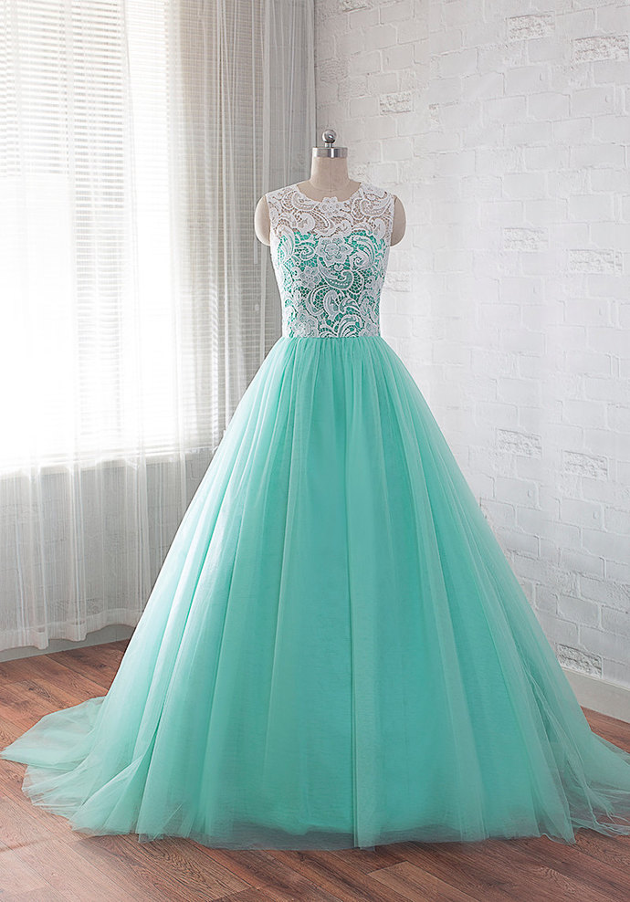 Tulle and Lace Formal Gown, Ball Gown Prom Dress, Handmade Party Dress