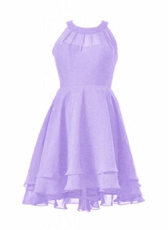 Light Purple Chiffon Halter Party Dress, Prom Dress 2019, Wedding Party Dress