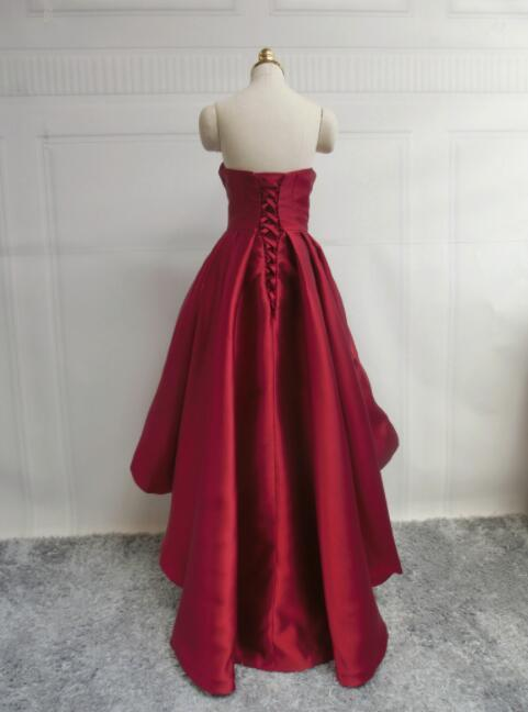 Red Satin Homecoming Dresses, Lovely High Low Prom Dress 2019