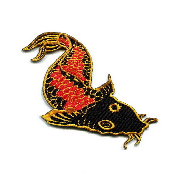 Japanese koi carp fish Patch Embroidered Iron on Patches Clothes Appliques Sew