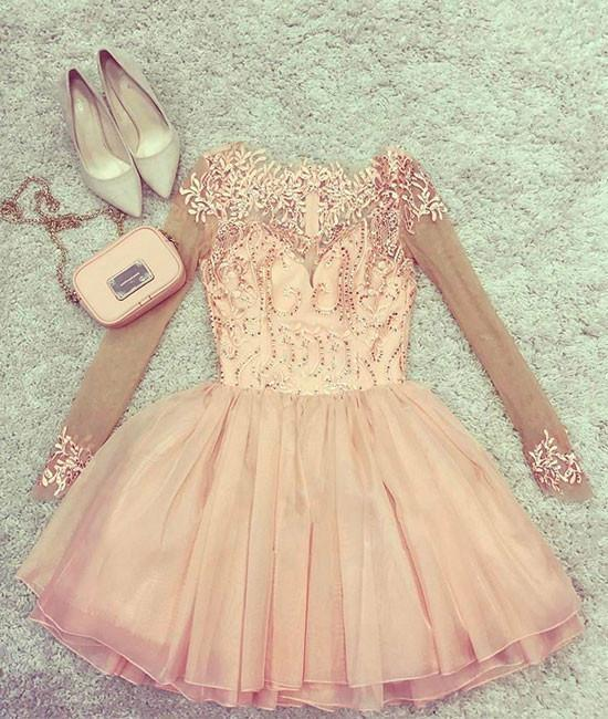 Copy of Cute pink tulle short prom dress, pink homecoming dress